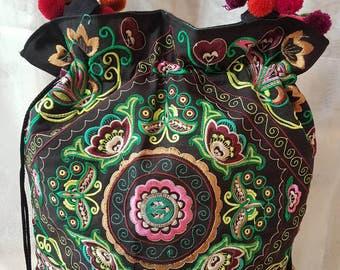 Ethnic bag with embroidery, bag boho, tribal bag