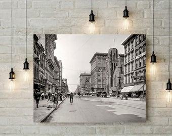 Syracuse NY, Photo, South Salina Street, Historical Syracuse, Wall Art, Home Decor, Syracuse NY Print, Black White, Salina Street, 1904
