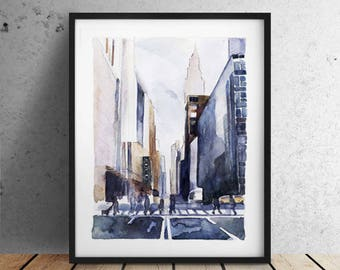 INSTANT DOWNLOAD Large City print / New York print / minimalist / Architectural Print /  Chrysler Building / huge painting / Office prints