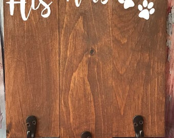 His/Hers/Dog Key Holder, Wood Sign, Key Holder