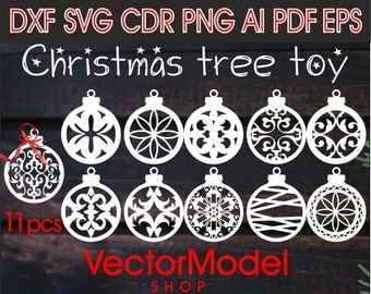 Christmas tree toy, decorations or wooden and paper cut CNC Cut File Vector Art Laser Cut DXF CAD drawing Silhouette Cameo Template souvenir