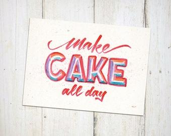Art Postcard Print - Make Cake