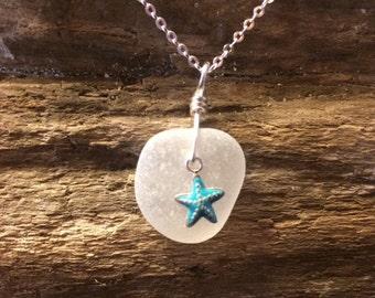 Lake Erie Beach Glass Pendant with Silver Enamel Sea Star Charm