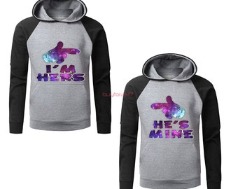 I'm Hers He's Mine Couple Raglan Hoodies Matching Hoodies For Couples pärchen pullover Couple Matching Sweatshirts