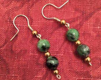 Ruby in Zoisite Earrings w/ 14K Gold Filled Wire and Hematite Beads.   Ball & Coil French Hook Ear Wires