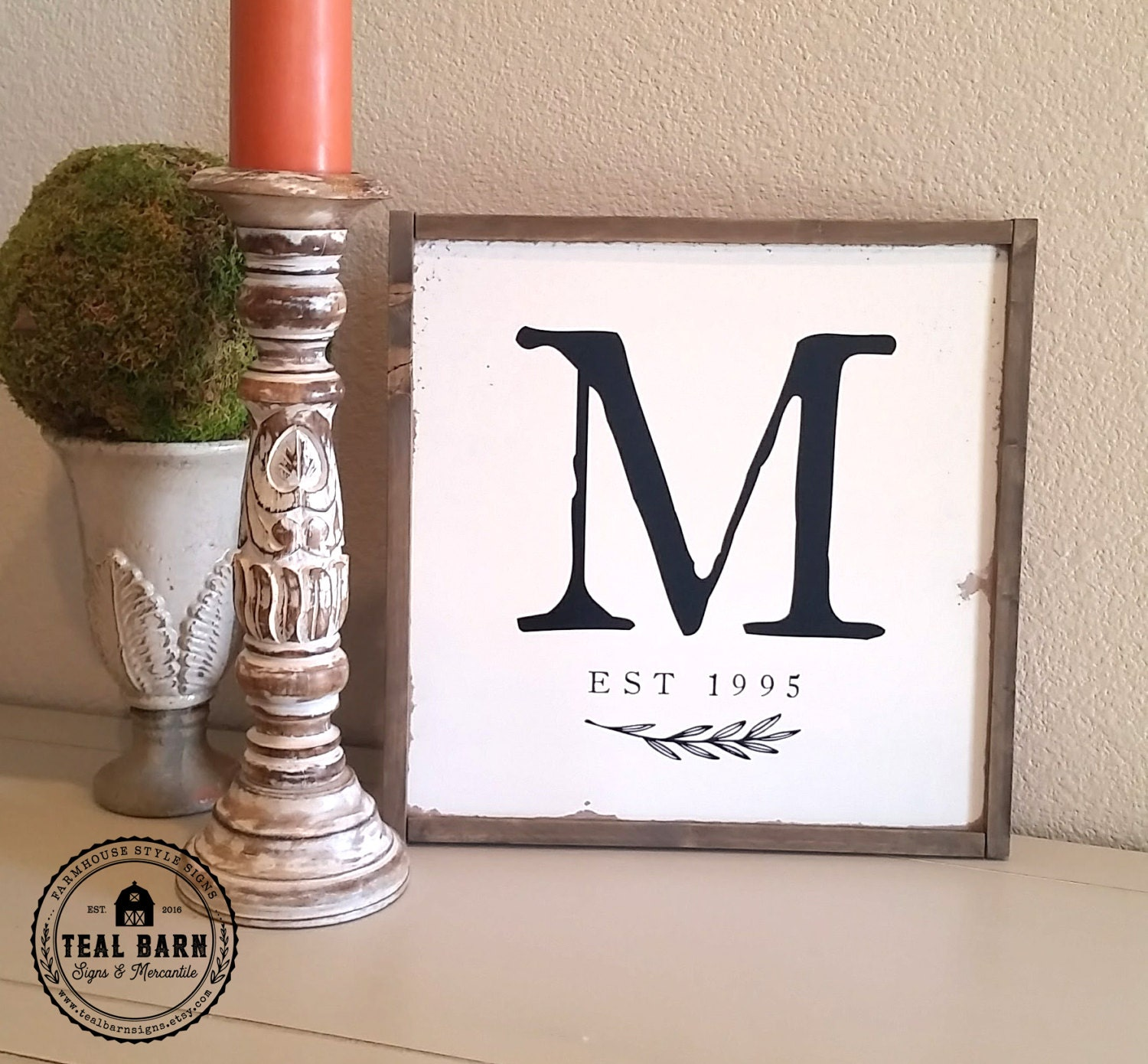 Family Name Initial Sign Established Date Farmhouse Frame Magnolia Market Style