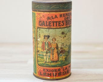 Vintage French Biscuit Tin, vintage tins, rustic tin, French vintage tin, Objets d'art, Galettes Bretonnes