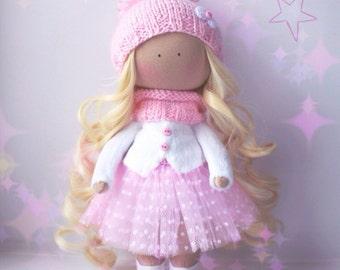 Christmas doll Nursery doll Tilda doll Textile doll Handmade doll Fabric doll Rag doll Art doll Baby doll Unique doll by Elena Merentseva