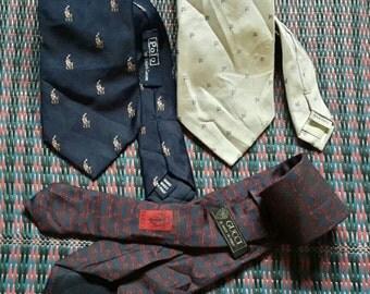 vintage necktie POLO ralph lauren..GUCCI..FILA