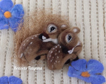 Needle felted fawn Bambi, Felt brooch, needle felted animal, brooch fawn, felt ornaments, Felt toys, felted deer, needle felting toy, Fawn