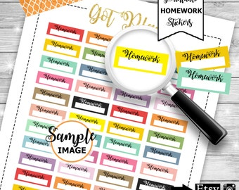 Homework Planner Stickers, Functional Stickers, Printable Stickers, School Stickers, Homework Stickers, Stickers For School