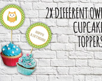 Cute Owl Cupcake Toppers, Printable Owl Cupcake Topper-Owl Birthday Cupcake, Green Owl Cupcake Toppers,Set of 2,Instant Download