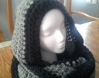 Chunky Scoodie, Crochet Hooded Scarf, Warm Soft Handmade Hooded Scarf, Ladies Hooded Scarf