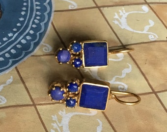 Lapis Lazuli blue earrings, painterly style