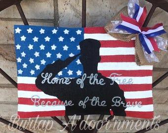 American Soldier Burlap Door Hanger - Military Front Door Decor - Veteran Door Decoration - Memorial Door Hanger