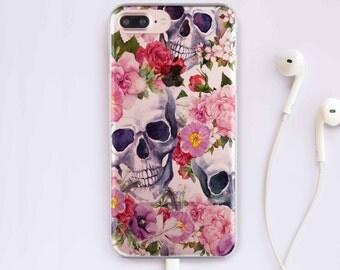 Skull iPhone 7 Plus Case Flowers iPhone 6 Case iPhone 6S Case iPhone 5S Case iPhone 6 Plus Case For Samsung S7 Case Samsung S8 Plus Case 034