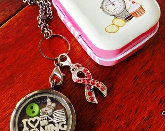 Sewing Charm Floating Locket and Chain