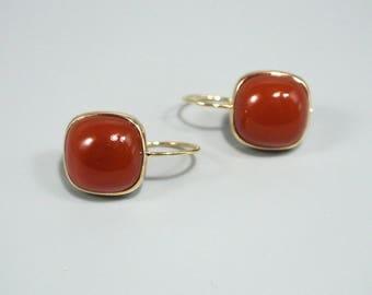 14k yellow gold Earrings, Red carnelian, cushion cut ,bezel set ,14k gold, 14k solid gold earrings