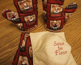 Chef Pattern Oven Mitts/Microwave Bowl Cozies Set