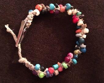 Colorful roach clip bracelet, bone, hemp