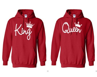 King Queen Couple Hoodies, Valentine, Anniversary, Gift, Matching Hoodies,  2 Red Hoodies ***EXPEDITE SHIPPING***