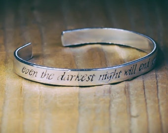 Even The Darkest Night Will End And The Sun Will Rise / Literary Gift / Inspirational Quote Jewelry / Les Miserables Gift / Literary Jewelry