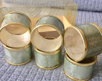 Retro Set of 6 Copper and Mother of Pearl Napkin Rings With Box Dining Kitchen