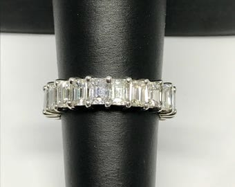 Handcrafted Emerald Cut Diamond Eternity Band