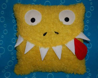 Cuddly Bright Yellow Monster Pillow