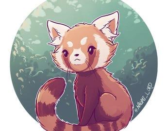 Red Panda Print Etsy
