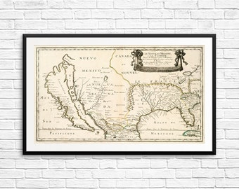 Old New Mexico Map Etsy - Us map new mexico