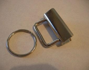 """Key Fob Hardware 1 1/4"""" / 32mm x 10 Nickel finish"""
