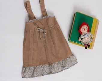 vintage 1970s toddler girl's corduroy dress