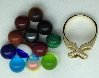 Interchangeable Colored Stone Bead Ring - 14k Yellow Gold