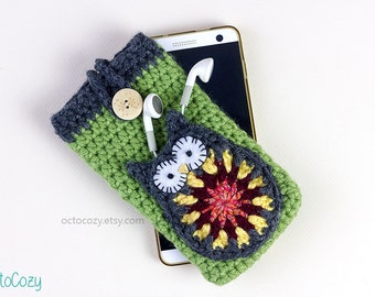 Mobile Phone Case, Cool iPhone Cover, Handmade Crochet Custom Phone Case with Owl Pocket for Earphones, Vegan Pouch