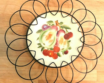 Vintage Handpainted Plate made in JAPAN in wire holder