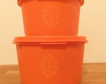 Vintage 1970s TUPPERWARE Canisters  Set of two in orange