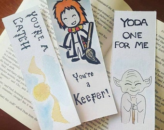 harry potter / yoda watercolour bookmarks, gift for booklover, bibliophile, funny, romance