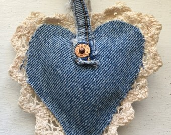 Handmade denim and lace ornament