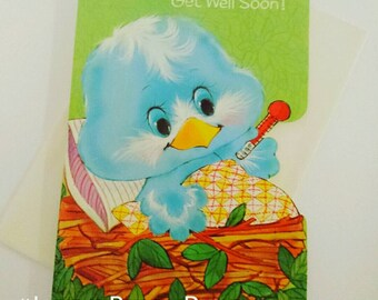 1950s 50s 1960s 60s vintage Norcross bluebird Get Well unused greetings card with original envelope near mint condition - blue bird in nest