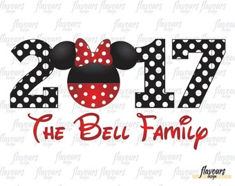 2017 Minnie Family Name - Family Vacation - Disney Iron On Transfer - DIY Disney Shirts - INSTANT DOWNLOAD