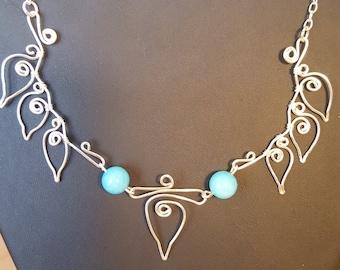 Blue quartzite leaf necklace