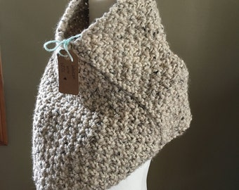 Womens Handmade Knit Spring Cape- Oatmeal  Bandana