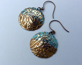 Rustic natural solid brass earrings (turquoise and gold)