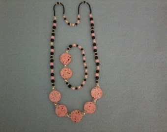 Pink and Black Beaded Necklace and Bracelet Set