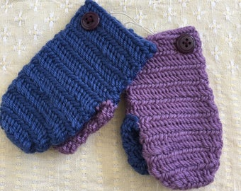 Needlebinded baby wool mittens (0-1 year)