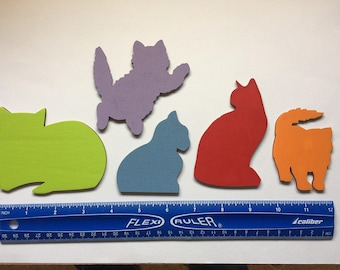Wooden Silhouette Cat Magnets - Set of 5