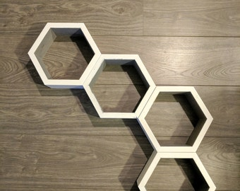 Hexagon Shelves (Two Toned Set of 4), Honeycomb Shelves, Geometric, Decor, Home Decor, Rustic, Nursery, Nursery Wall Art, Nursery Decor
