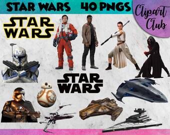 Star Wars Cliparts - 40 PNG's @ 300 DPI Instant Digital Download - clip art, star wars clipart, star wars party, darth vader digital clipart