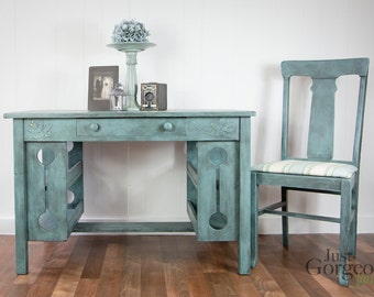Provence Blue Farmhouse Desk with Matching Chair